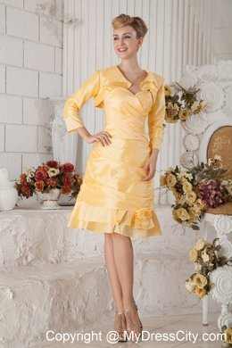0e1216f10df Yellow Ruched Homecoming Dress Long Sleeves Jacket Matching