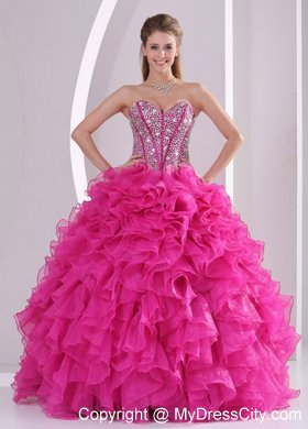 Hot Pink Ruffled Sweetheart Quinceanera Gowns with Beading
