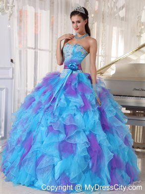Ruffle Dress on Strapless Floor Length Organza Beading Quinceanera Dress Mdc3qdzy218