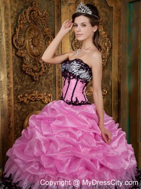 9a21bec804a4 Slinky Rose Pink and Zebra Strapless Pick-Ups Dress for Quince