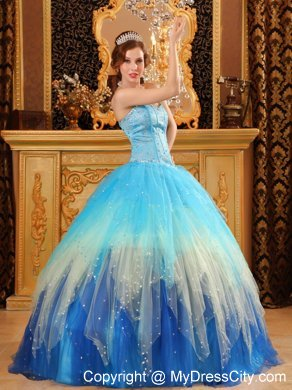Gorgeous Sweetheart Beading Blue Ball Gown Quinceanera Dress