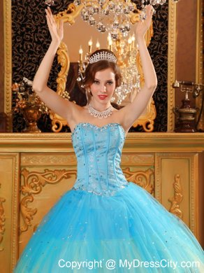 184fe569fd Gorgeous Sweetheart Beading Blue Ball Gown Quinceanera Dress