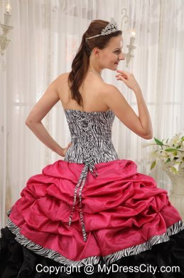 d23170aa39 Red and Black Strapless Ruffles Taffeta and Organza Zebra Quinceanera Dress