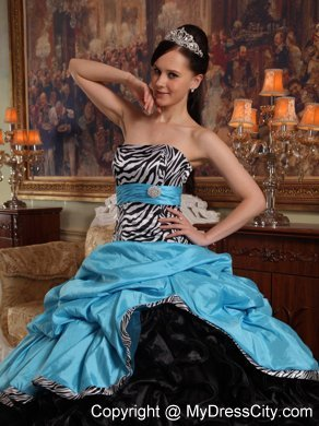20fb10c3595 Zebra Strapless Ruffles Blue and Black Quinceanera Dress for Cheap