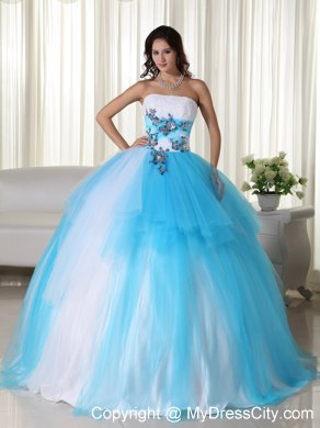 Blue And White Ball Gowns Tulle Ball Gown Strapless