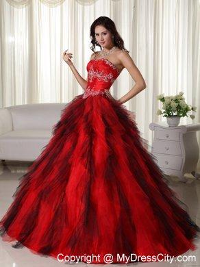 28da547c8c9 Ruffles Strapless Beading Black and Red Quinceanera Dress 2013