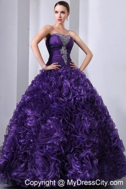 Strapless Beading Purple Quinceanera Dresses with Rolling Flowers