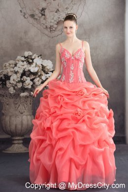 Quinceanera Dress Watermelon Spaghetti Straps with Appliques and Pick-ups