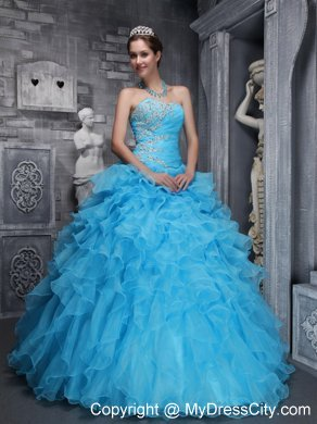 Aqua Blue Quinceanera Dress with Beadings and Puffy Ruffles ...