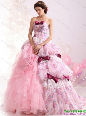 Multi Color Ball Gown Ruffles Colored Wedding Dresses With Lace And Bownot