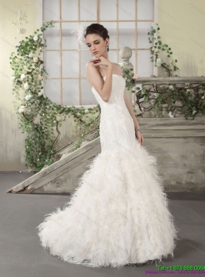 New Style Strapless Mermaid Wedding Dress with Lace and Feather