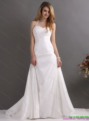 2015 the super hot halter top wedding dress with beading and ruching junglespirit Choice Image