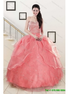 9ec6c85293 Beading Watermelon Quinceanera Gown and Baby Blue Short Dama Dresses and  Halter Top Watermelon Little Girl Dress