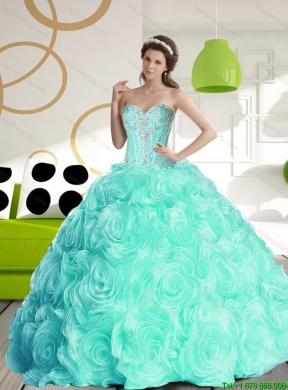 Luxurious 2015 Sweetheart Quinceanera Dresses with Beading and Rolling Flowers