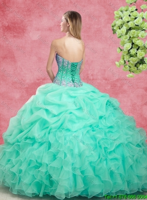 6428c4e5407 2015 Elegant Summer Apple Green Quinceanera Dresses with Beading and Ruffles