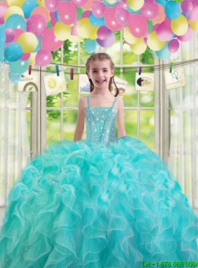 Lovely Aqua Blue Mini Quinceanera Dresses With Ruffles And