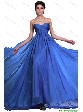 Perfect Sweetheart Ruched Blue Prom Dresses with Brush Train