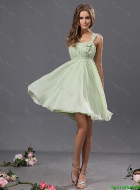 Fashionable Straps Short Prom Gowns with Appliques