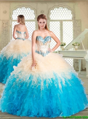 Pretty Sweetheart Designer Quinceanera Dresses With Beading And Ruffles