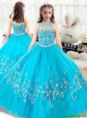 Cheap Beading Mini Quinceanera Gowns with High Neck