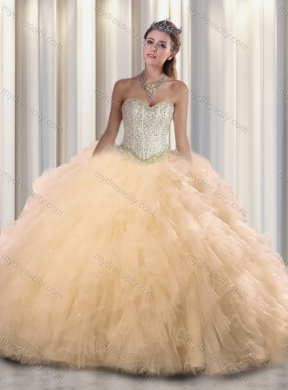 956424cf49 2016 Pretty Champagne Sweetheart Beading Quinceanera Dresses