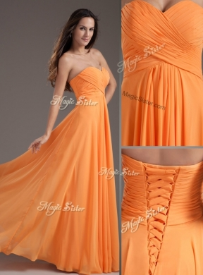 Cheap Sweetheart Floor Length Ruching Prom Dress in Orange