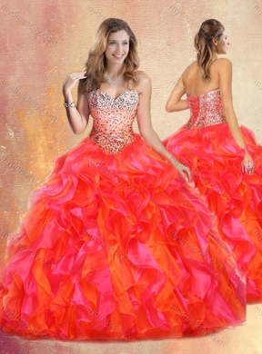 08009e46438 Pretty Ball Gown Multi Color Sweet 16 Gowns with Beading and Ruffles