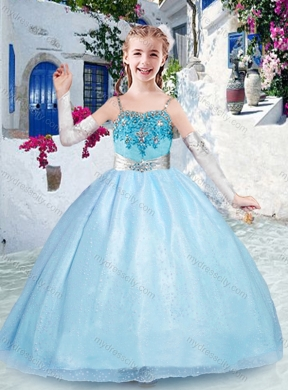 bbcd3d929c4 Beautiful Spaghetti Straps Light Blue Mini Quinceanera Dress with Beading