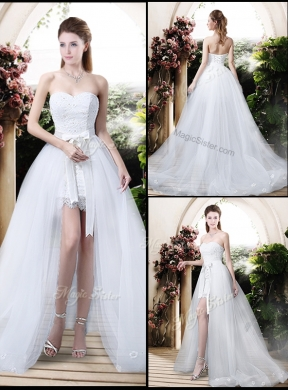 classical high low detachable wedding dresses with appliques and lace