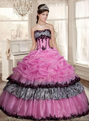 af747ee9a045 Luxurious Applique Zebra Rose Pink Quinceanera Dress and Strapless White  Dama Dresses and Pick Ups Mini ...