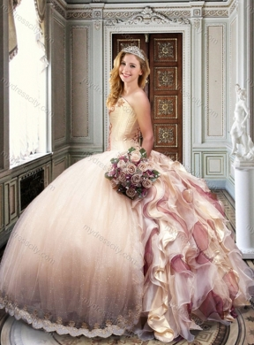 2016 Ball Gown Strapless Champagne Sweet 16 Dress with Appliques and Ruffles