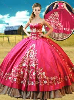 Elegant Really Puffy Taffetae Red Quinceanera Gown with Appliques and Beading