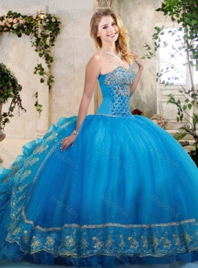 3a8dda3b10d Big Puffy Teal Sweet 16 Dress with Beading and Appliques