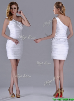 Column One Shoulder Ruched White Short Dama Dress for Homecoming
