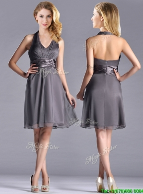 Romantic Chiffon Halter Top Knee Length Prom Dress In Grey
