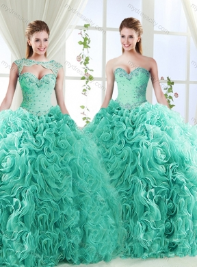 0af848c18f9 Big Puffy Brush Train Detachable Best Quinceanera Dresses with Beading and  Appliques