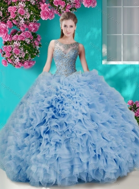 3cb9b4171b6 Gorgeous See Through Beaded Scoop Best Quinceanera Dresses in Champagne