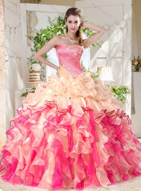 771352950f4 Cheap Big Puffy Colorful Pretty Quinceanera Dress with Beading and Ruffles