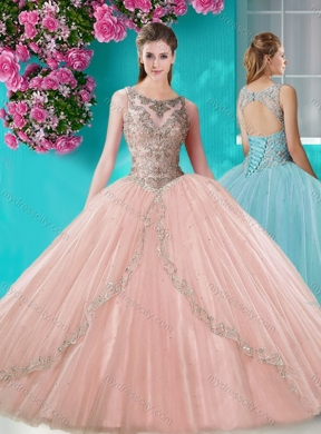 See Through Scoop Organza Pretty Quinceanera Dress with Beading