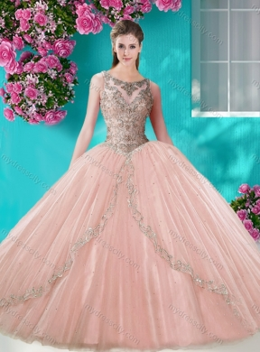6e96f26a88c Cheap See Through Scoop Organza Pretty Quinceanera Dress with Beading