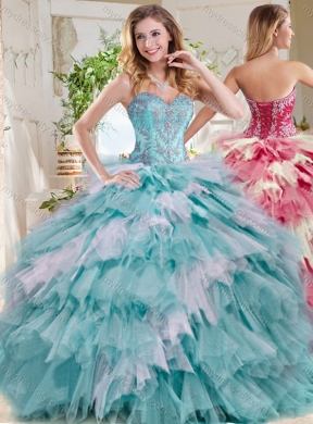 Popular Beaded and Ruffled Big Puffy Unique Quinceanera ...  Popular Beaded ...