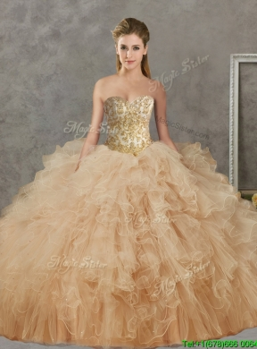 f2d5cdec9a7 Wonderful Big Puffy Champagne Detachable Quinceanera Dresses with Beading  and Ruffles