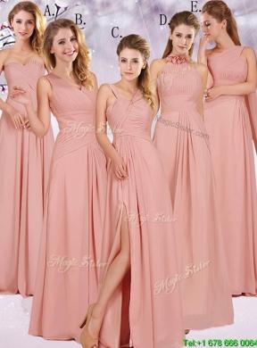 Long Peach Bridesmaid Dresses