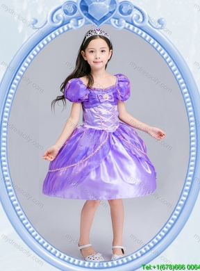Halloween Perfect Square Beaded and Bowknot Little Girl Pageant Dress in Knee Length
