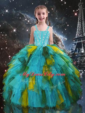 Aqua Blue Kids Pageant Dress Quinceanera and Wedding Party with Beading and Ruffles Straps Short Sleeves Lace Up