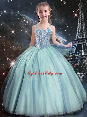 Superior Teal Straps Neckline Beading Kids Pageant Dress Sleeveless Lace Up