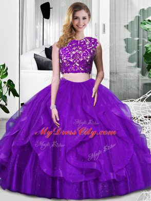 Smart Purple Two Pieces Tulle Scoop Sleeveless Lace and Ruffles Floor Length Zipper 15 Quinceanera Dress