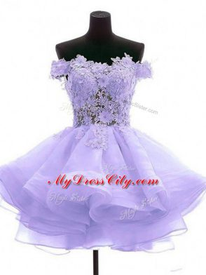 Perfect Lavender A-line Tulle Off The Shoulder Sleeveless Lace and Appliques Mini Length Zipper Evening Dress
