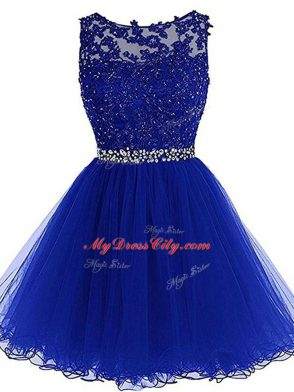 Hot Sale Mini Length Royal Blue Dress for Prom Tulle Sleeveless Beading and Lace and Appliques and Ruffles