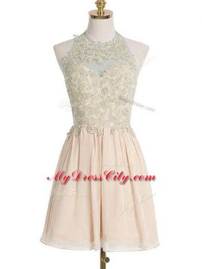 Beautiful Knee Length Champagne Bridesmaid Gown Halter Top Sleeveless Lace Up